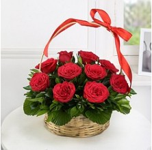 1 Dozen Red Roses - 12 Stem Basket