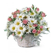 Charming Roses and Daisies in Basket