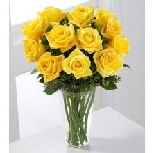 Sunny Roses - 12 Stems In Vase