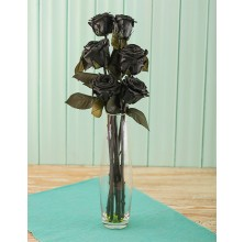 Black Roses - 6 Stems Vase