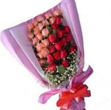 Elegant Red Pink Roses - 24 Stems Bouquet