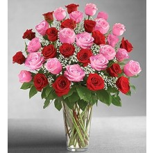 Valentines Red and Pink - 36 Stems Vase