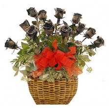 Roses Devotion - 12 Stems Basket