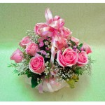 Gorgeous Pink Roses - 12 Stems Basket
