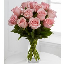 Perfectly Pink Rose In a Vase - 12 Stems Vase