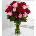 Elegant Red Pink Roses - 24 Stems Vase