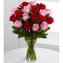 Elegant Red Pink Roses - 24 Stems Vase