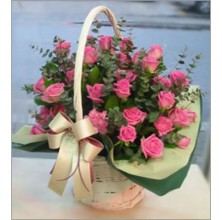 Lovely Pink Roses in a Basket