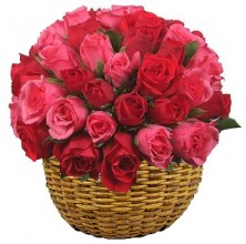 Valentines Red and Pink - 36 Stems Basket