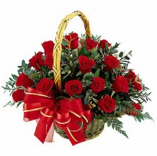 1 Dozen Red Roses - 12 Stem Basket